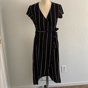 LOFT pinstriped wrap midi dress